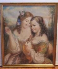 Antique 19th c. Stunning PASTEL Painting Little GIRLS & Pet Bunnny RABBITS
