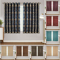 Luxury Jacquard Curtains Eyelet Ring Top Short Window Curtain Pair with Tieback