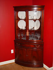Antique 1930's Broyhill Mahogany Bow Front Corner Cabinet (Qty 2)