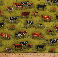 Cows Calves Cattle Green Grass Pasture Animals Cotton Fabric Print BTY D679.16