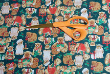 CHRISTMAS TEDDY BEARS DRESSED HOLIDAY FABRIC~SEWING-QUILT-ADORABLE FABRIC UNISEX