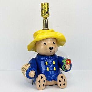 "Vtg Paddington Bear Lamp by NOJO EDEN 1991 w/ Tag Working 13"" No Lamp Shade"