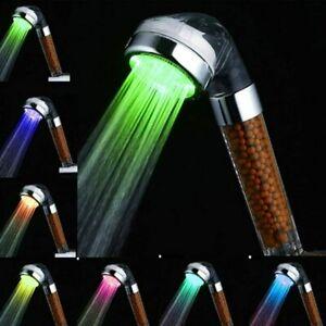 7 Color Changing LED Light Up Turbo Pressure Bathroom Shower Head Handheld UK