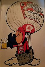 "1987 Bud Man Hot Air Balloon Promo Sticker  Appox 10.5"" × 7.5"" BUDWEISER BEER"
