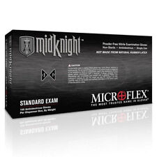 Microflex Mk296M MidKnight Black Nitrile Gloves, Powder-Free, Medium, Box of 100