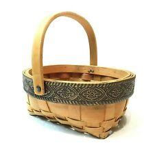 "Decorative Basket Chipwood Woven Metal Rim 7.5"" Swivel Carry Handle Oval Decor"