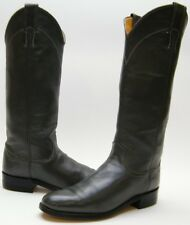 WOMENS JUSTIN TALL GREY GRAY LEATHER ROPER RIDING COWBOY WESTERN BOOTS 6.5~1/2 B