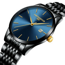 Mens Luxury Watch Ultra Thin Casual Analog Quartz Steel Strap Wristwatch