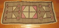 """Antique Early Native American Indian Navajo Saddle Blanket Small Rug 35""""x17"""""""