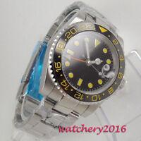 40mm Bliger Sapphire Automatic Men's Luminous GMT Watch Ceramic Rotatig Bezel