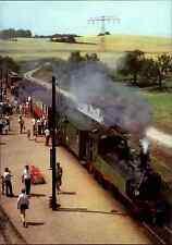 EISENBAHN Motiv AK DDR Zug Radebeul Ost - Radeburg am Bahnhof Friedewald ~1984