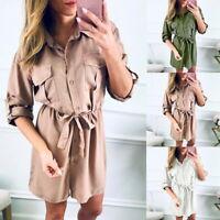 2019 Damen KurzarmhemdV-Ausschnitt Minikleid Tunika Hemdkleid Longshirt Baggy