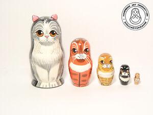 """Happy Cat Family Nesting doll 5pcs, Matryoshka 4.3""""/ (11cm)"""