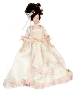 DOLLS HOUSE DOLL 1/12th SCALE VICTORIAN LADY IN WHITE SATIN AND PINK LACE GOWN