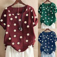 ❤️Women Floral Print Loose T Shirt Ladies Short Sleeve Summer Casual Tops Blouse