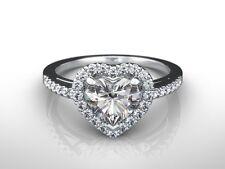 1.25 CT HEART D VS2 ENHANCED DIAMOND SOLITAIRE ENGAGEMENT RING 14K WHITE GOLD