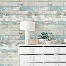 NUWALLPAPER BEACHWOOD PEEL & STICK WALLPAPER FEATURE WALL WOOD EFFECT