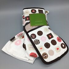 3pc KATE SPADE Kitchen Oven Mitt Towel Set Chocolate Brown Pink Authentic NEW
