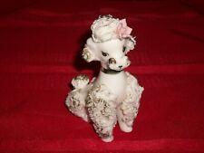 1960s Inarco Japan White Spaghetti Porcelain Sitting Poodle Figurine Gilt Trim