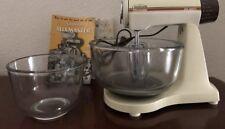Sunbeam Mixmaster 235 Watts Vintage 12 Speed WORKS! Mixer 2 Clear Glass Bowls