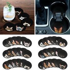 Set of 6 Design Neoprene Fabric Felt Round Car Coaster For Drinks Cup Holder