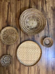 Set Of 5 Vintage Wicker Lot Baskets Plates Boho Farmhouse Rattan Wall Art Decor