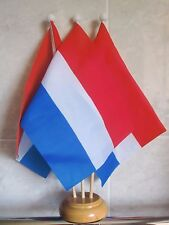 NETHERLANDS HOLLAND TABLE FLAG SET 3 flags with 3 hole wooden base DUTCH