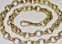9CT YELLOW GOLD ON SILVER 22 INCH OVAL LINK SOLID BELCHER CHAIN