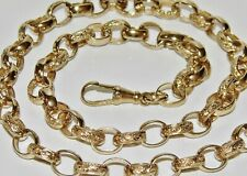 9CT YELLOW GOLD ON SILVER 30 INCH OVAL LINK SOLID BELCHER CHAIN