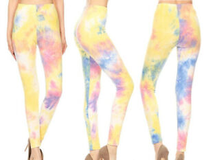 S-XL Women's Tie Dye Leggings Buttery Soft Stretch Knit Long Ankle Length Boho