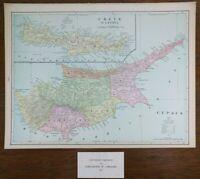 "CYPRUS & CRETE 1903 Vintage Atlas Map 14""x11"" Old Antique NICOSIA HERAKLION"