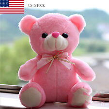 Pink LED Flash Teddy Bear Stuffed Animals Plush Soft Hug Toy Baby Kids Gift New
