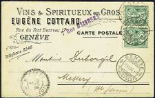 2955 SWITZERLAND TO FRANCE CARD 1906 WINE ADVERTISING TO MESSERY (small town)