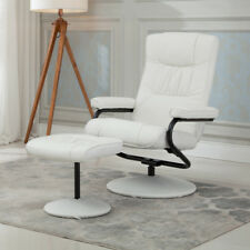 Recliner Chair Swivel Executive Armchair Lounge w/ Ottoman Footrest Set, White