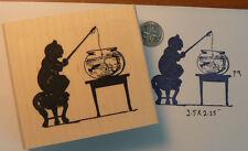 "P9 Cat silhouette rubber stamp 2.5x2.5""WM"