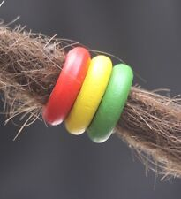 15 Rasta Wooden Dreadlock Rings 8mm (5/16') Hole Dread Beads + FREE Tibetan Bead