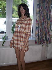 Roxy Minikleid Longbluse Dreamland natur kariert Langarm krempelbar S neu