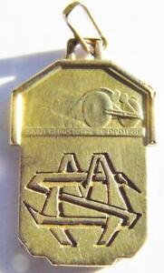 Art Deco 18K Gold Fix St. Christopher Holy Medal Pendant Vintage Car Automobile