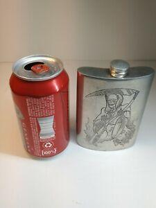 Vintage 1920-1930's Flask Sherwood England Fine Quality Pewter