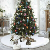 Christmas Tree Skirt Plush Mat Faux Fur Home Xmas Floor Decor Ornament Party AU