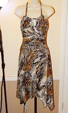 Sexu MARY L COUTURE Animal Print Ruched Jersey Asymmetrical Hem Dress SIZE 8