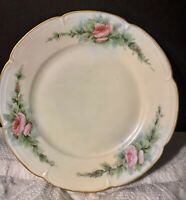 "Hand Painted 6.25"" Limoges Desert Plate Artist Signed Emily A Phelps Roses Gold"
