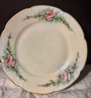 """Hand Painted 6.25"""" Limoges Desert Plate Artist Signed Emily A Phelps Roses Gold"""