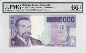 Belgium 1994-2001 2000 Francs P-151 PMG Gem Unc 66 EPQ