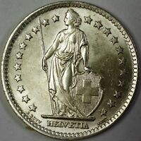 1965 B Switzerland 2 Francs Brilliant Uncirculated Helvetia Silver Coin