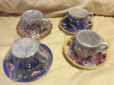 set of 4 Cooks Club cups & saucers Geometric, Cafe Bistro