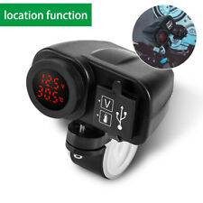 12V Motorcycle Handlebar Dual USB Charger  Voltmeter + Thermometer + Location