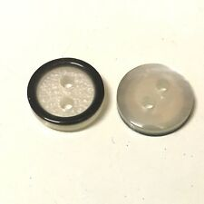 20 x 12mm round white and black resin opalescent buttons