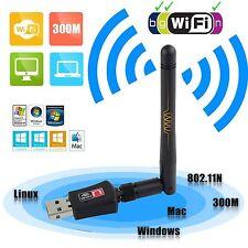 802.11n/g/b 300Mbps Mini USB WiFi Wireless Adapter Network LAN Card + Antenna