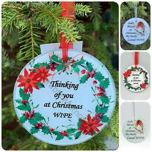 Wife Christmas Memorial Tributes - Xmas Tree Robin Bauble Candle Book Plaque